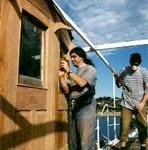 Beautiful restoration work on the wheelhouse. John and Martin hard at work.