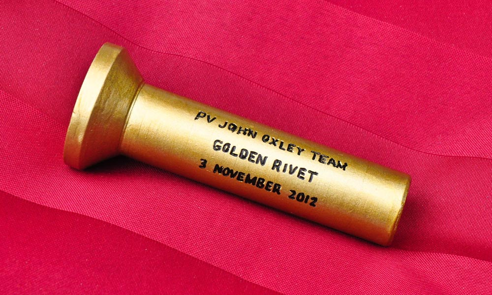 Golden rivet, suitable engraved