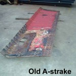 Original A-strake plate showing wastage