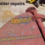 Removing the wasted top plating of the rudder