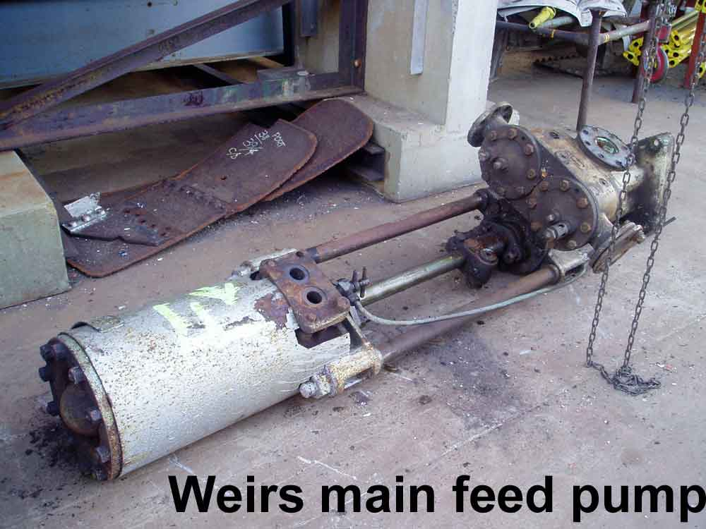 Weir main feed pump just after removal, prior to dismantling and rebore