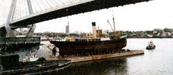 John Oxley on the Sydney Heritage Dock, being towed back to Rozelle Workshop