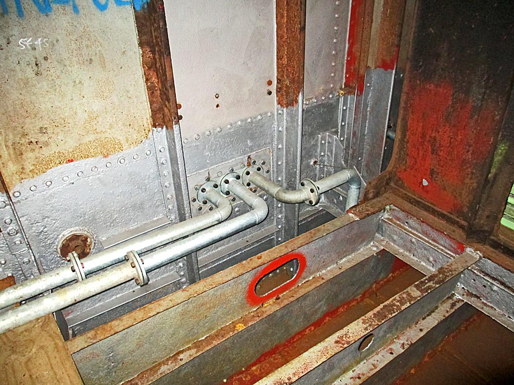 New bilge suction piping in bunker space