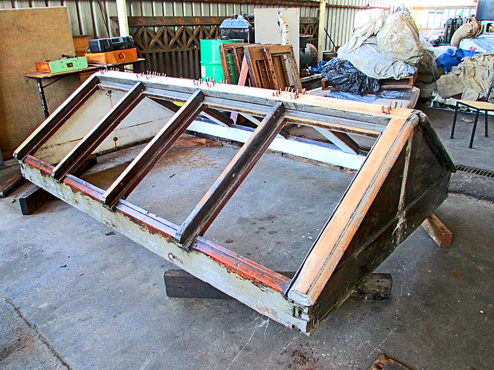 Repairs to teak engine room skylight
