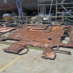 Another view of rusted bridge deck.
