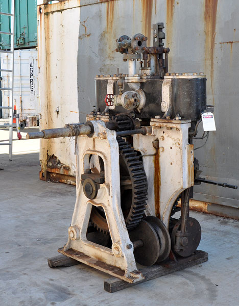 Detail of Bow McLachlan steering engine as removed from the vessel.