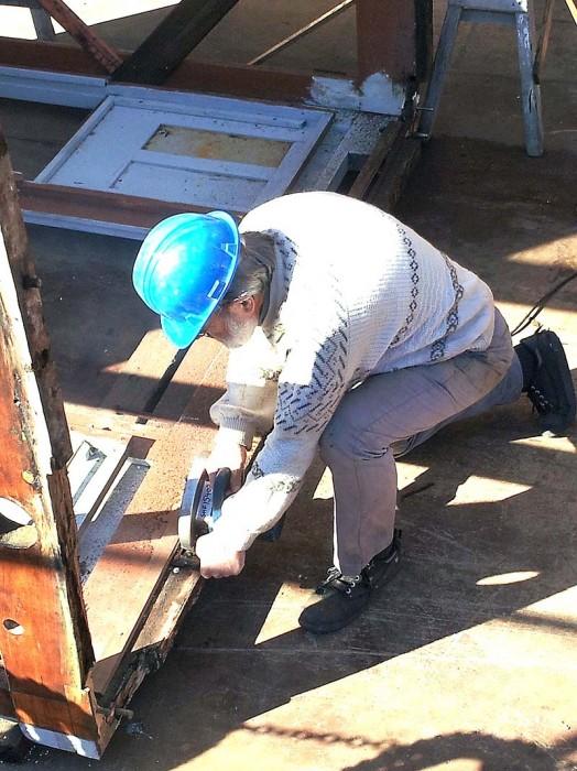 Cutting away damaged wheelhouse sills
