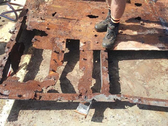 Rusted bridge deck
