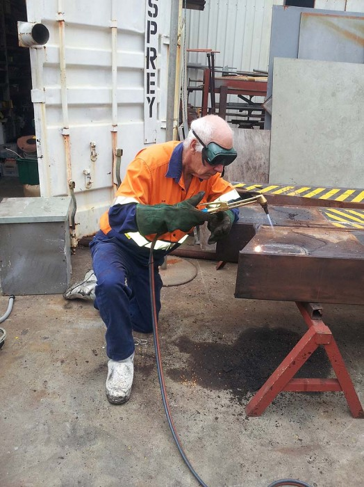 Tadano crane - cutting out rusted steel