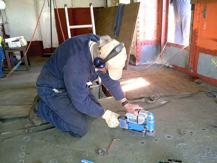 Using Hougen magnetic base drill on main deck steel
